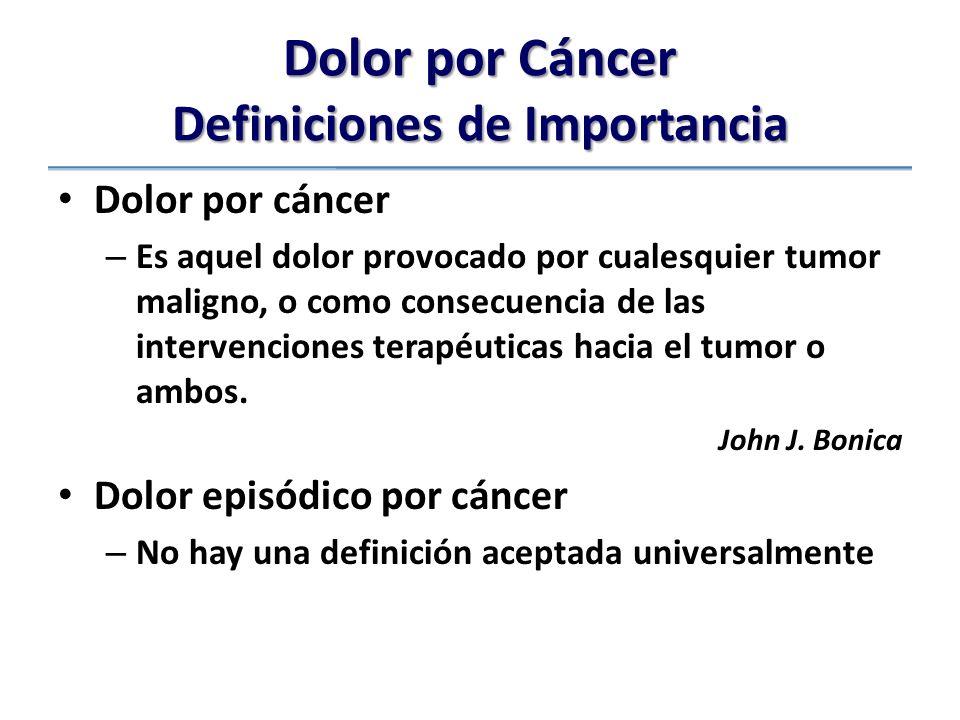 Dolor por Cáncer Definiciones de Importancia Dolor por cáncer – Es aquel dolor provocado por cualesquier tumor maligno, o como consecuencia de las intervenciones terapéuticas hacia el tumor o ambos.
