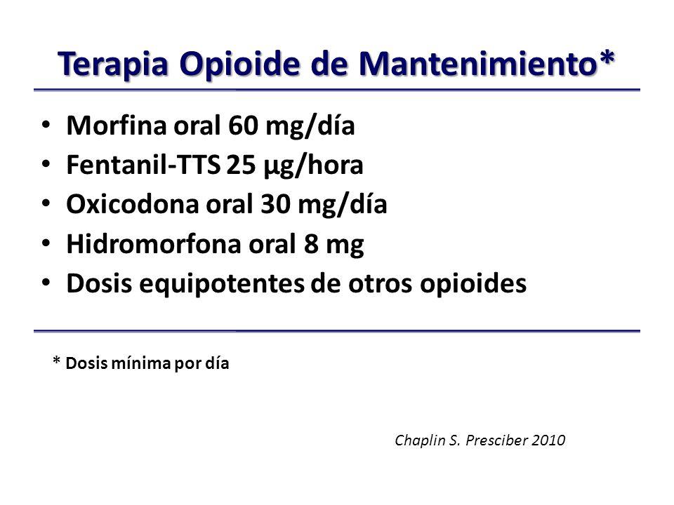 Terapia Opioide de Mantenimiento* Morfina oral 60 mg/día Fentanil-TTS 25 µg/hora Oxicodona oral 30 mg/día Hidromorfona oral 8 mg Dosis equipotentes de otros opioides * Dosis mínima por día Chaplin S.