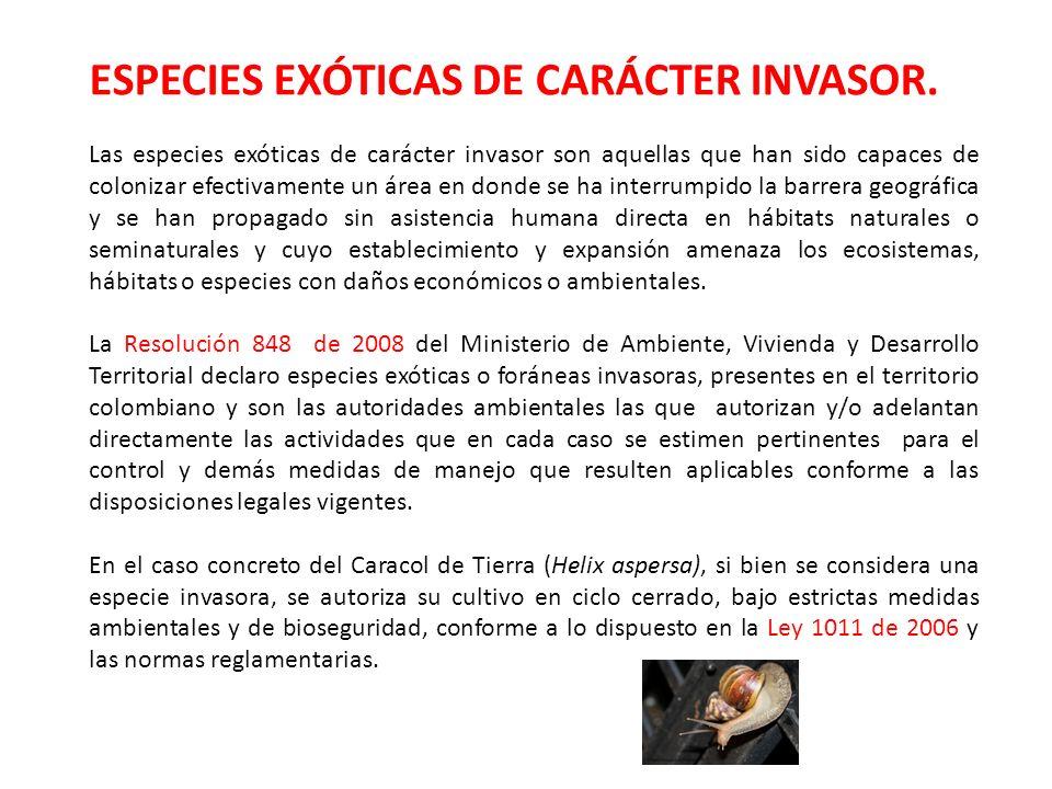 ESPECIES EXÓTICAS DE CARÁCTER INVASOR.