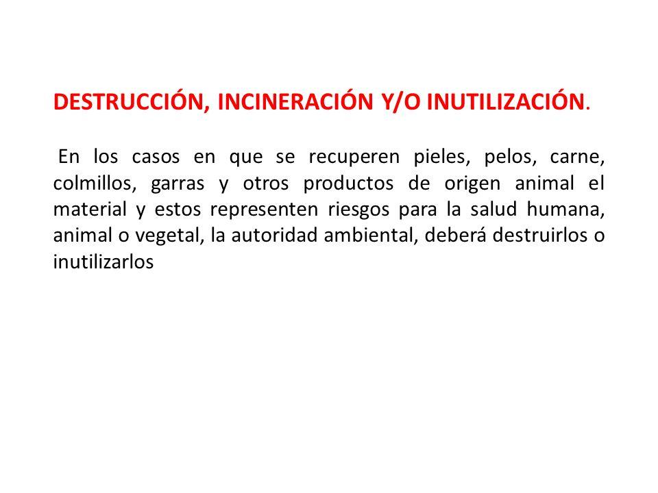 DESTRUCCIÓN, INCINERACIÓN Y/O INUTILIZACIÓN.