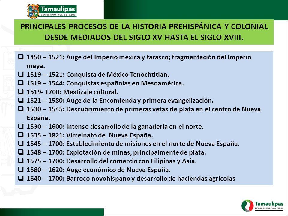 PRINCIPALES PROCESOS DE LA HISTORIA PREHISPÁNICA Y COLONIAL DESDE MEDIADOS DEL SIGLO XV HASTA EL SIGLO XVIII. 1450 – 1521: Auge del Imperio mexica y t