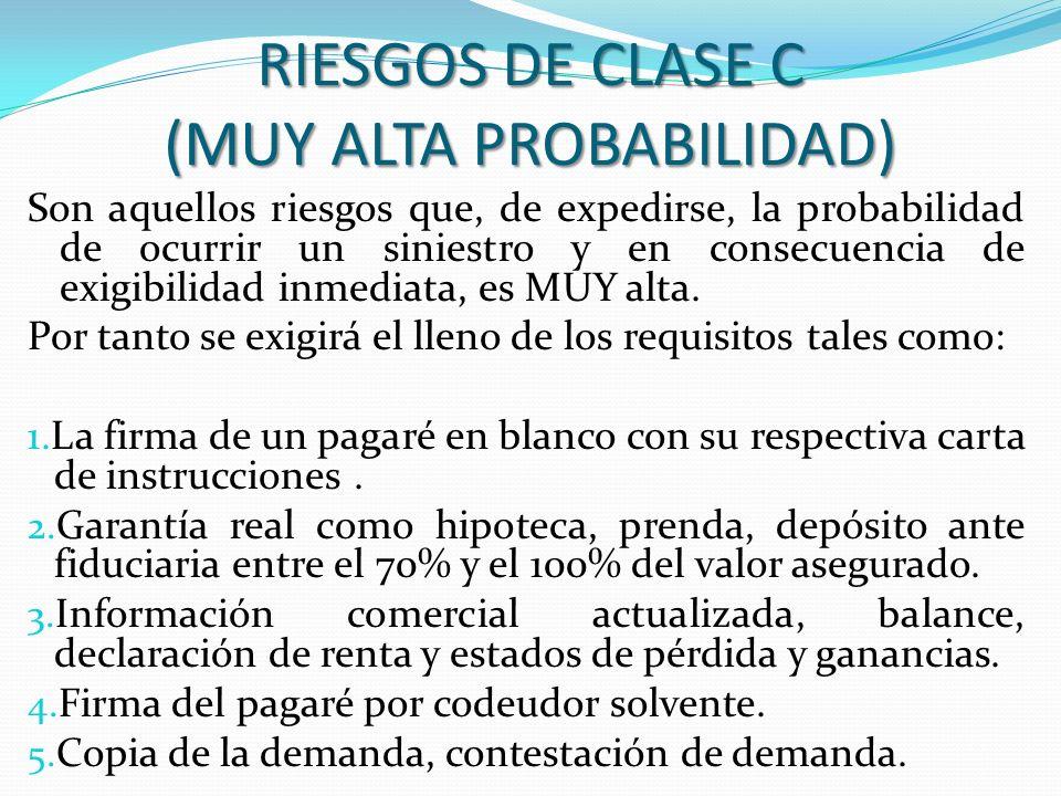 RIESGOS DE CLASE C (MUY ALTA PROBABILIDAD) Son aquellos riesgos que, de expedirse, la probabilidad de ocurrir un siniestro y en consecuencia de exigib