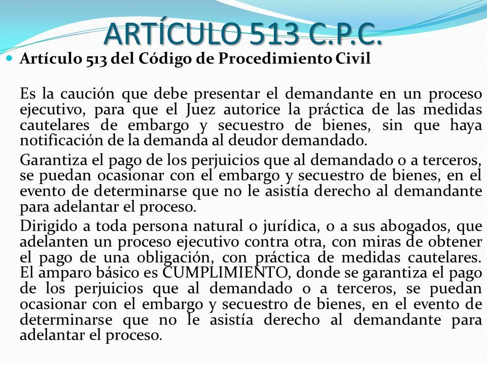 ARTÍCULO 513 C.P.C. Artículo 513 del Código de Procedimiento Civil Es la caución que debe presentar el demandante en un proceso ejecutivo, para que el