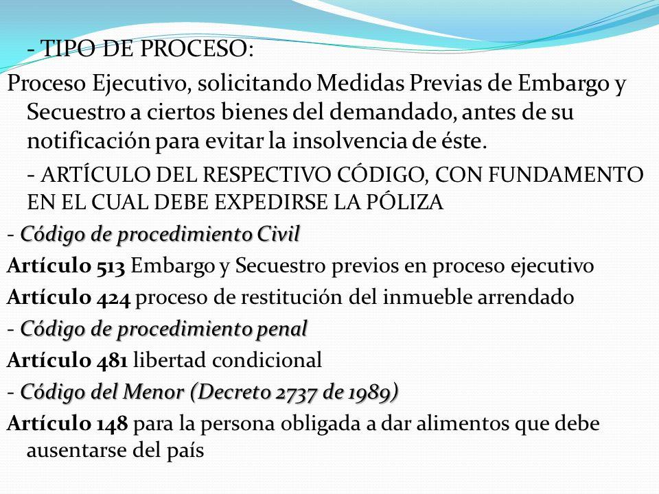 - TIPO DE PROCESO: Proceso Ejecutivo, solicitando Medidas Previas de Embargo y Secuestro a ciertos bienes del demandado, antes de su notificación para