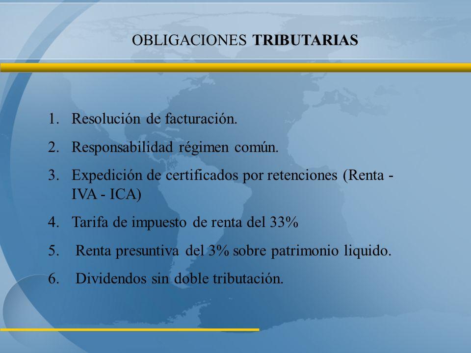Obligaciones con Impuestos Distritales: 1.Inscripción en el RIT 2.Industria, Comercio y Avisos - ICA 3.Predial 4.Vehículos 5.Azar y espectáculos 6.Sobretasa a la gasolina 7.Delineación Urbana (licencia de construcción) OBLIGACIONES TRIBUTARIAS