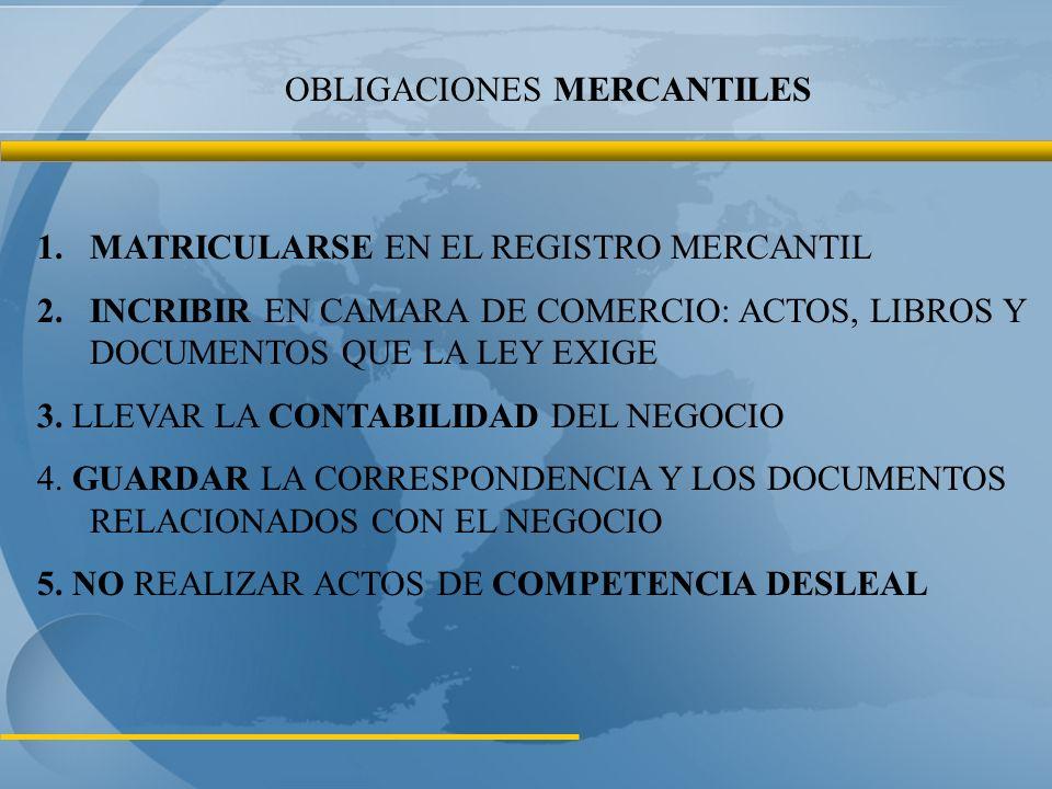 OBLIGACIONES MERCANTILES 1.MATRICULARSE EN EL REGISTRO MERCANTIL 2.INCRIBIR EN CAMARA DE COMERCIO: ACTOS, LIBROS Y DOCUMENTOS QUE LA LEY EXIGE 3.