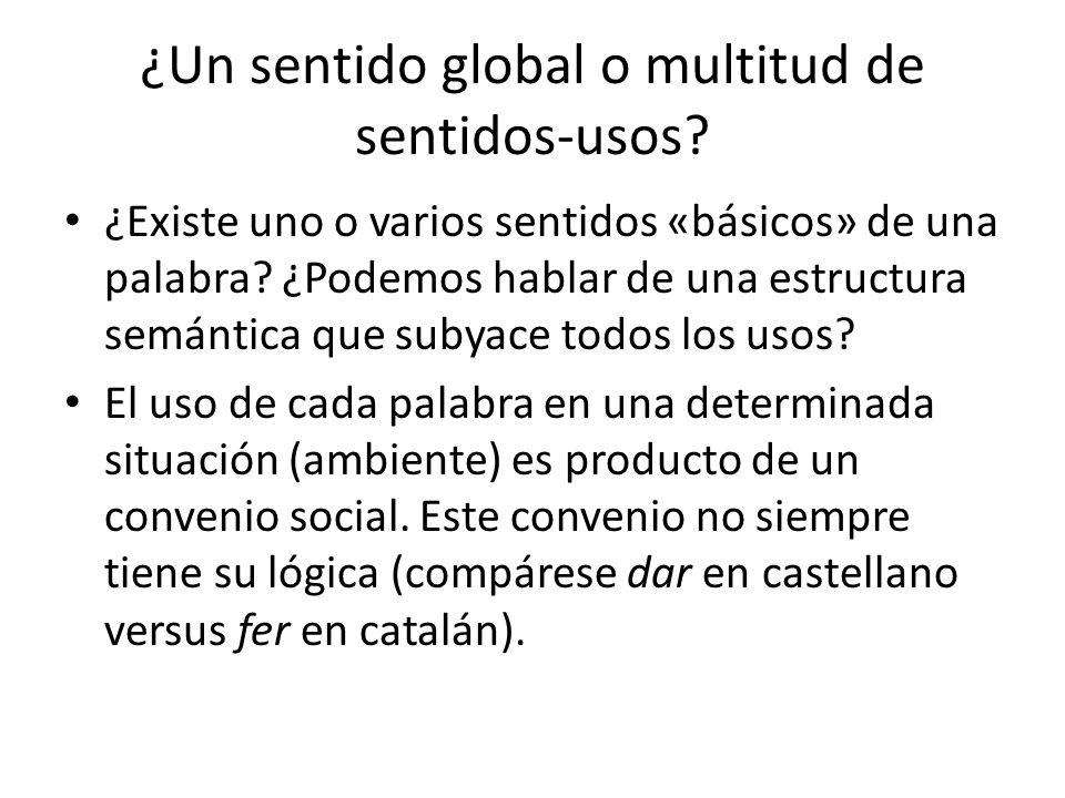 ¿Un sentido global o multitud de sentidos-usos.