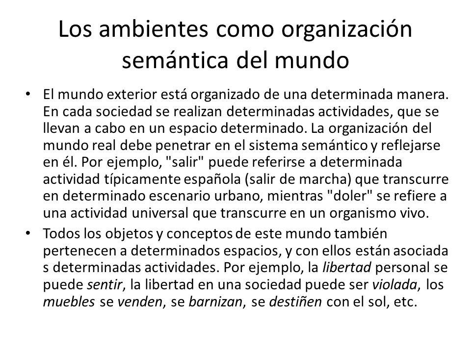 Los ambientes como organización semántica del mundo El mundo exterior está organizado de una determinada manera.