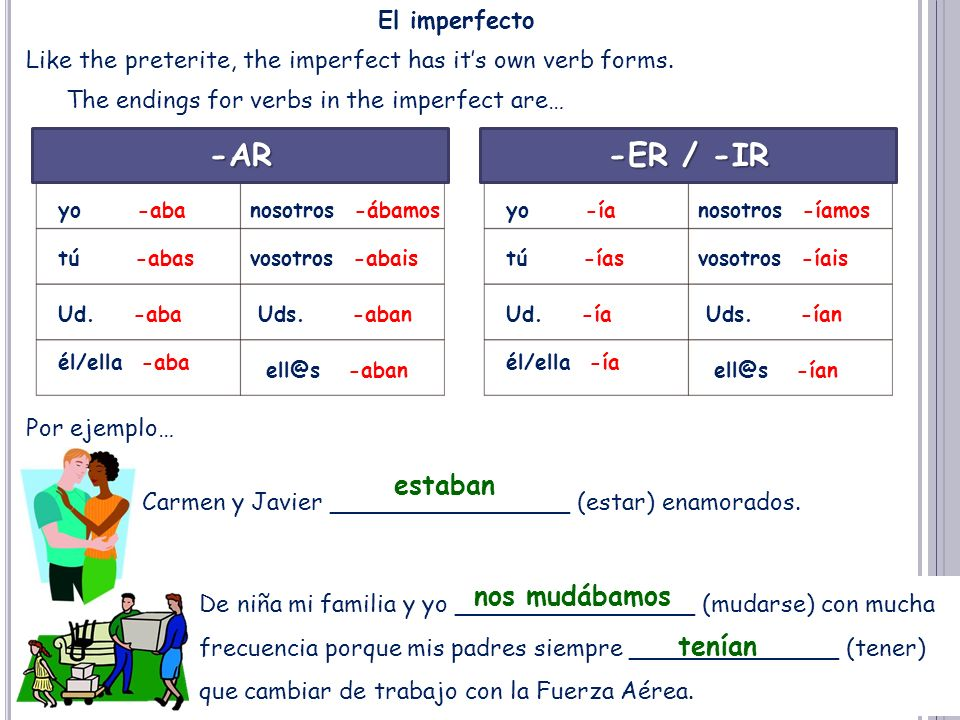 El imperfecto Like the preterite, the imperfect has its own verb forms.