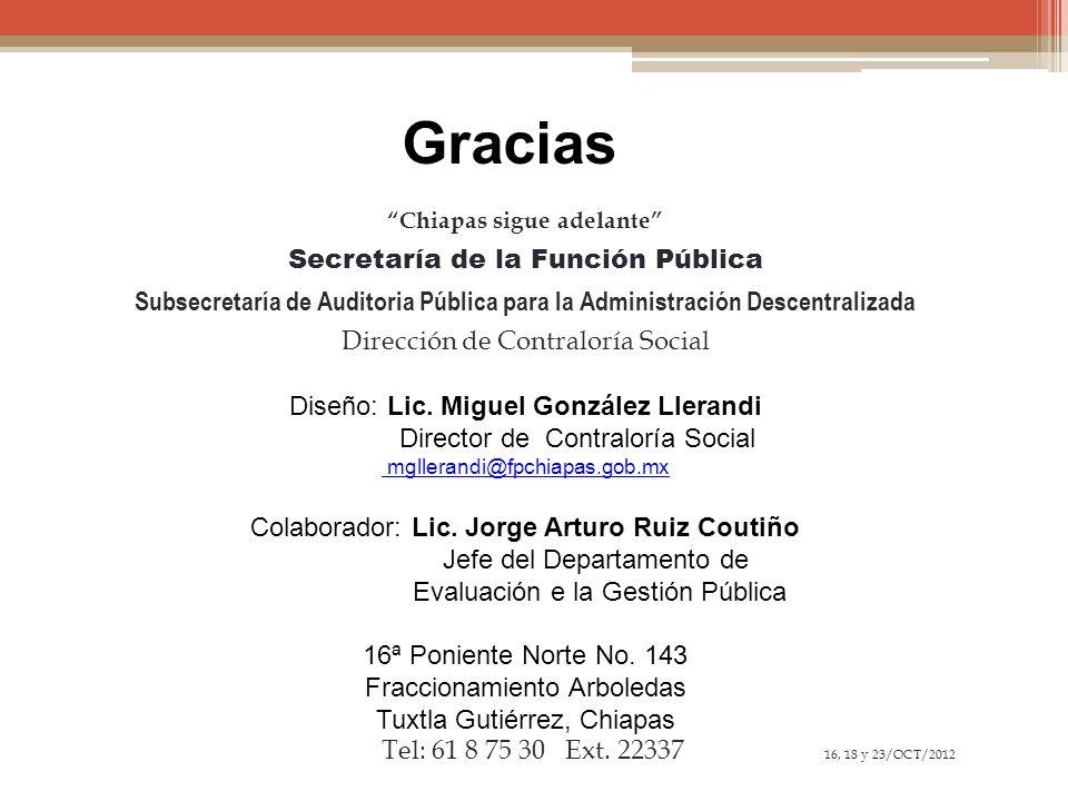 Gracias Chiapas sigue adelante Secretaría de la Función Pública Subsecretaría de Auditoria Pública para la Administración Descentralizada Dirección de