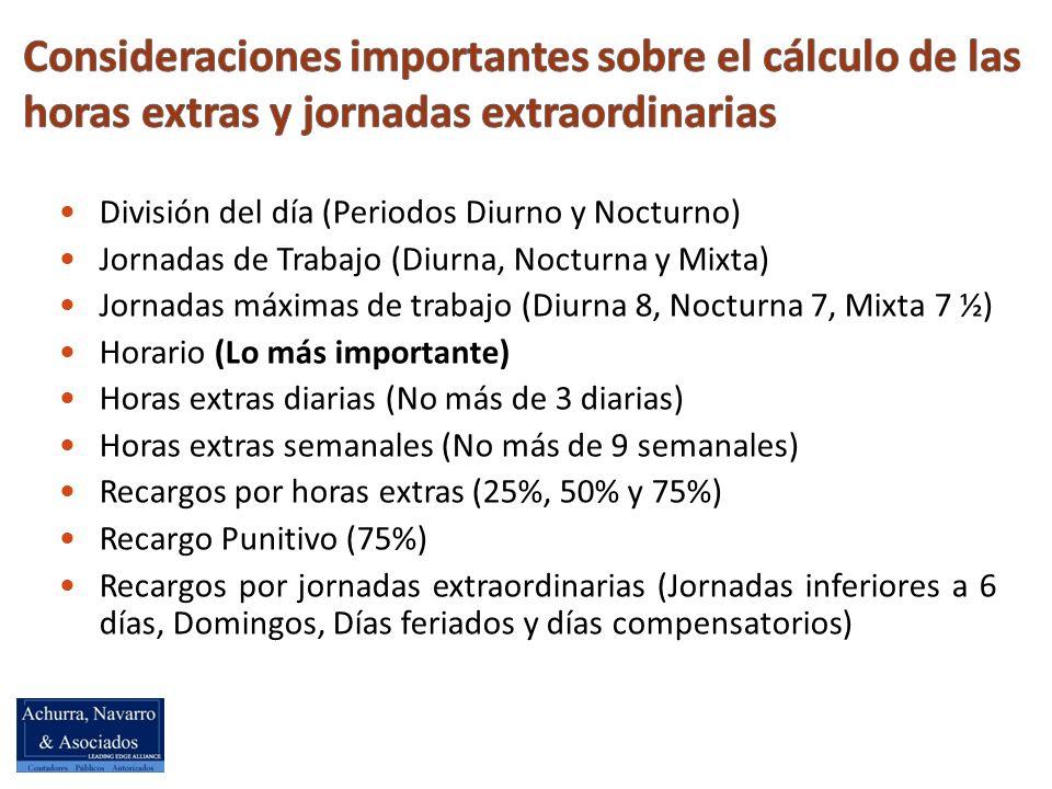 División del día (Periodos Diurno y Nocturno) Jornadas de Trabajo (Diurna, Nocturna y Mixta) Jornadas máximas de trabajo (Diurna 8, Nocturna 7, Mixta 7 ½) Horario (Lo más importante) Horas extras diarias (No más de 3 diarias) Horas extras semanales (No más de 9 semanales) Recargos por horas extras (25%, 50% y 75%) Recargo Punitivo (75%) Recargos por jornadas extraordinarias (Jornadas inferiores a 6 días, Domingos, Días feriados y días compensatorios)