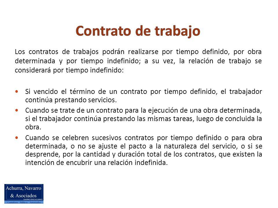 Los contratos de trabajos podrán realizarse por tiempo definido, por obra determinada y por tiempo indefinido; a su vez, la relación de trabajo se considerará por tiempo indefinido: Si vencido el término de un contrato por tiempo definido, el trabajador continúa prestando servicios.