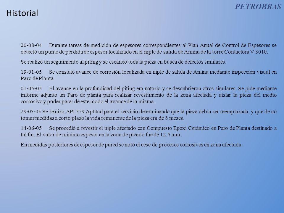 Historial 20-08-04Durante tareas de medición de espesores correspondientes al Plan Anual de Control de Espesores se detectó un punto de perdida de esp