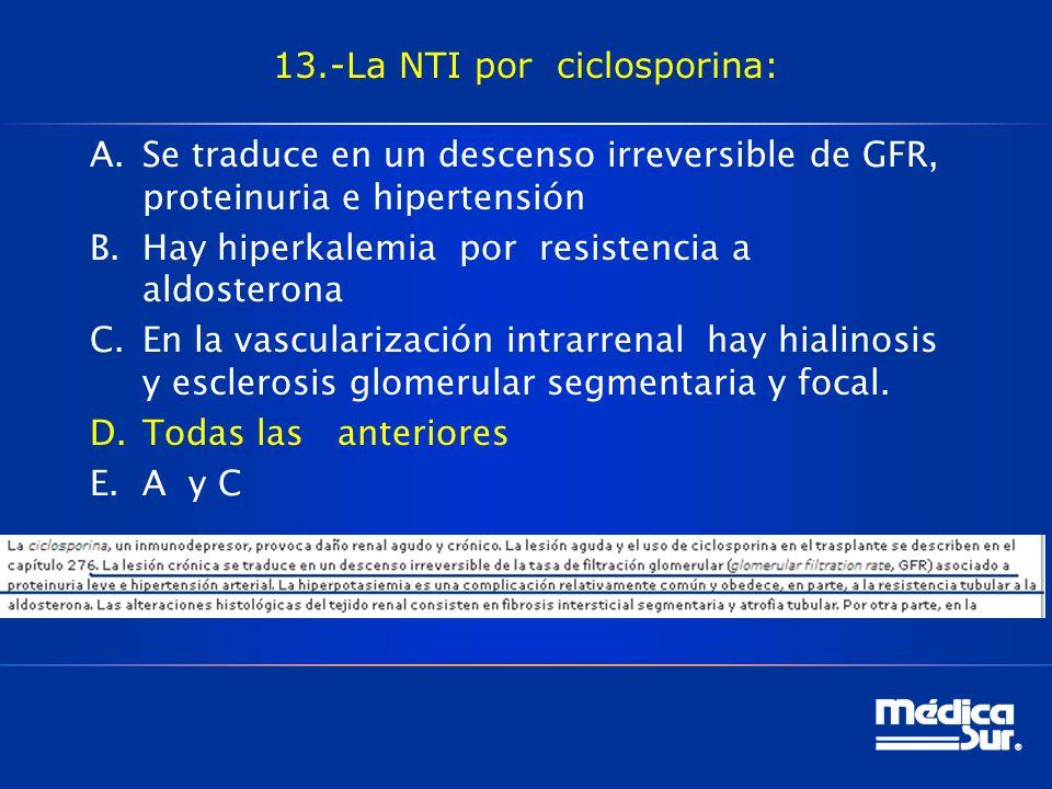 13.-La NTI por ciclosporina: A.Se traduce en un descenso irreversible de GFR, proteinuria e hipertensión B.Hay hiperkalemia por resistencia a aldosterona C.En la vascularización intrarrenal hay hialinosis y esclerosis glomerular segmentaria y focal.