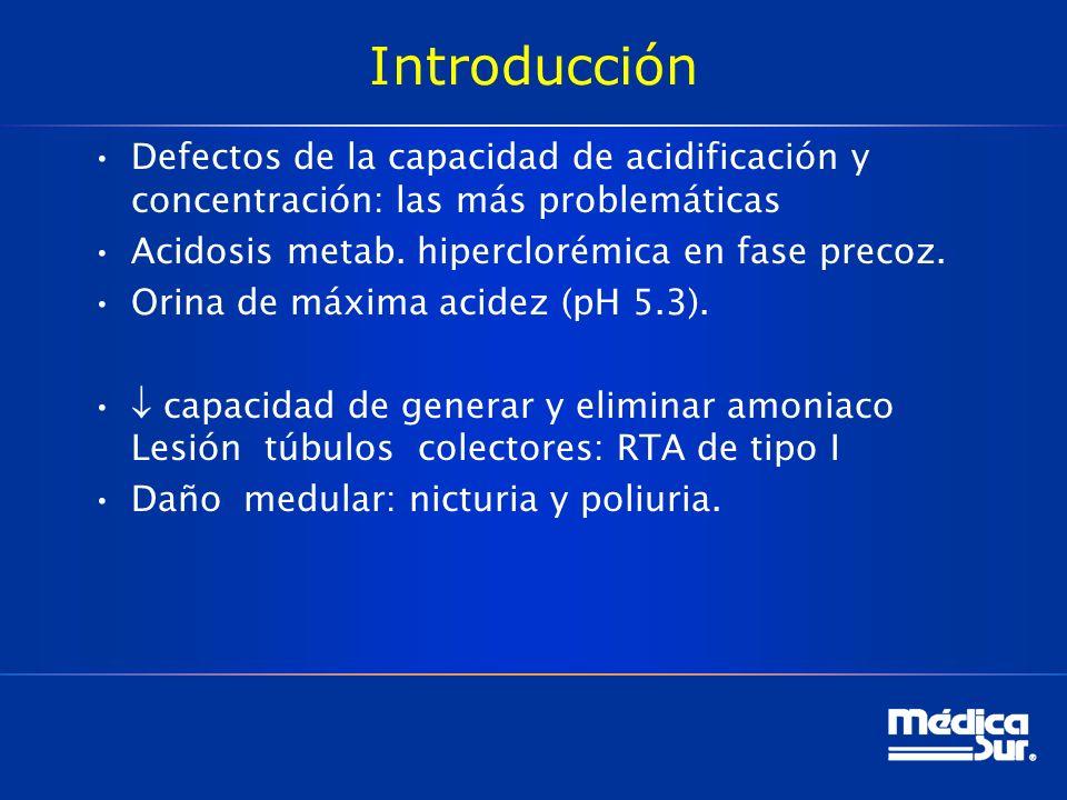 Introducción Defectos de la capacidad de acidificación y concentración: las más problemáticas Acidosis metab.