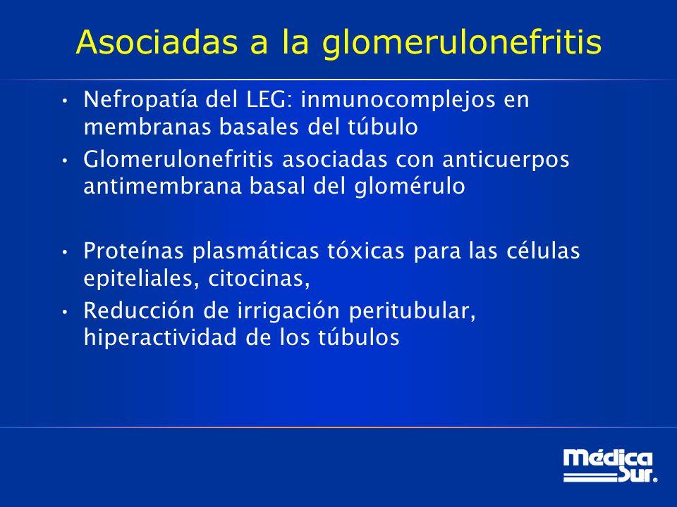 Asociadas a la glomerulonefritis Nefropatía del LEG: inmunocomplejos en membranas basales del túbulo Glomerulonefritis asociadas con anticuerpos antimembrana basal del glomérulo Proteínas plasmáticas tóxicas para las células epiteliales, citocinas, Reducción de irrigación peritubular, hiperactividad de los túbulos