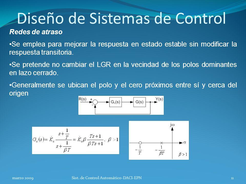 Diseño de Sistemas de Control Redes de atraso Se emplea para mejorar la respuesta en estado estable sin modificar la respuesta transitoria.