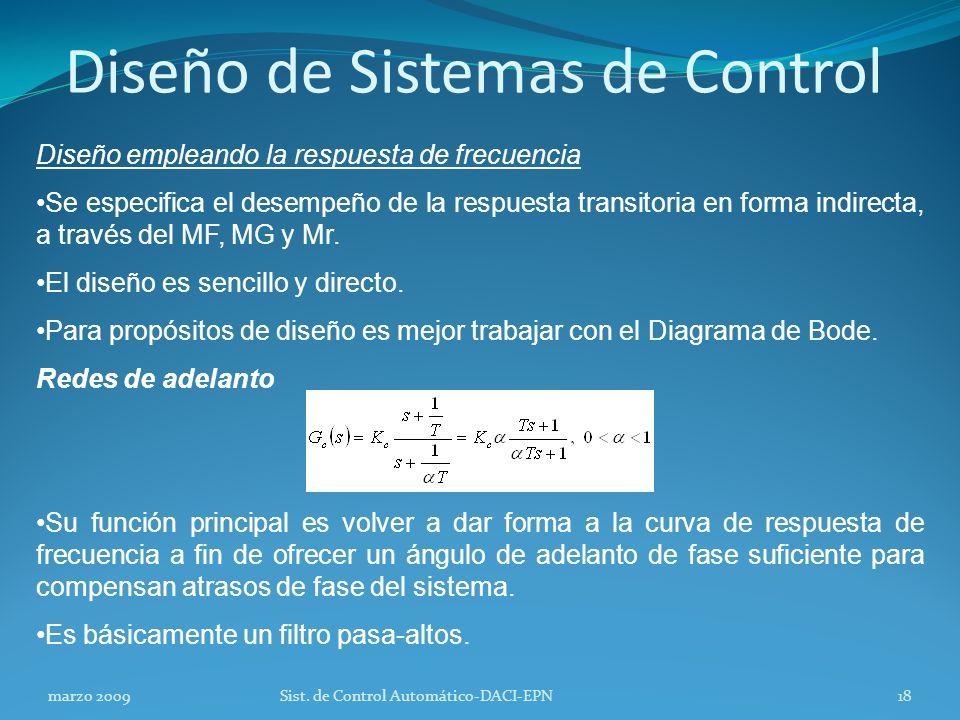 Diseño de Sistemas de Control Diseño empleando la respuesta de frecuencia Se especifica el desempeño de la respuesta transitoria en forma indirecta, a través del MF, MG y Mr.