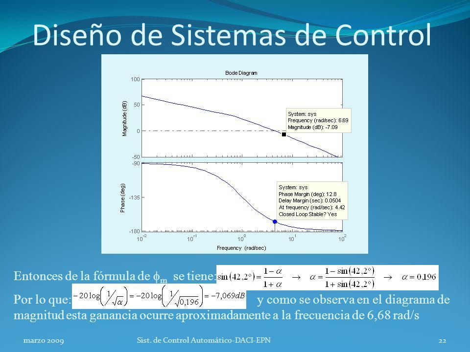 Diseño de Sistemas de Control marzo 2009Sist.