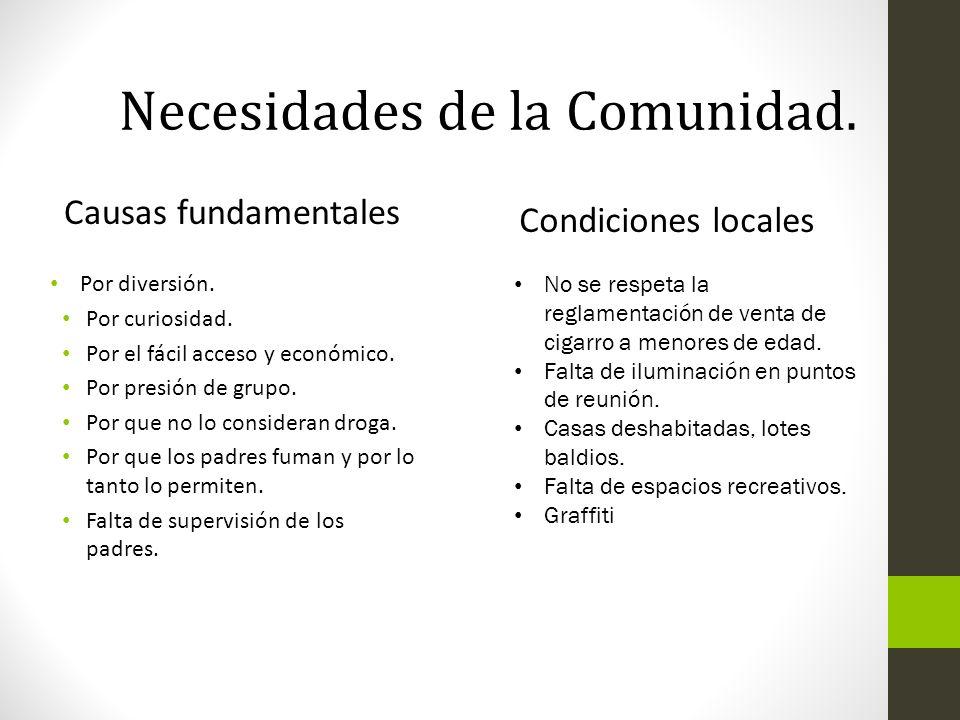 Causas fundamentales Condiciones locales Por diversión. Por curiosidad. Por el fácil acceso y económico. Por presión de grupo. Por que no lo considera