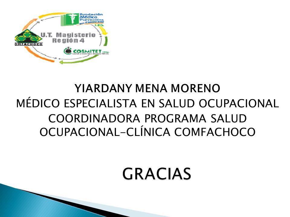 YIARDANY MENA MORENO MÉDICO ESPECIALISTA EN SALUD OCUPACIONAL COORDINADORA PROGRAMA SALUD OCUPACIONAL-CLÍNICA COMFACHOCO