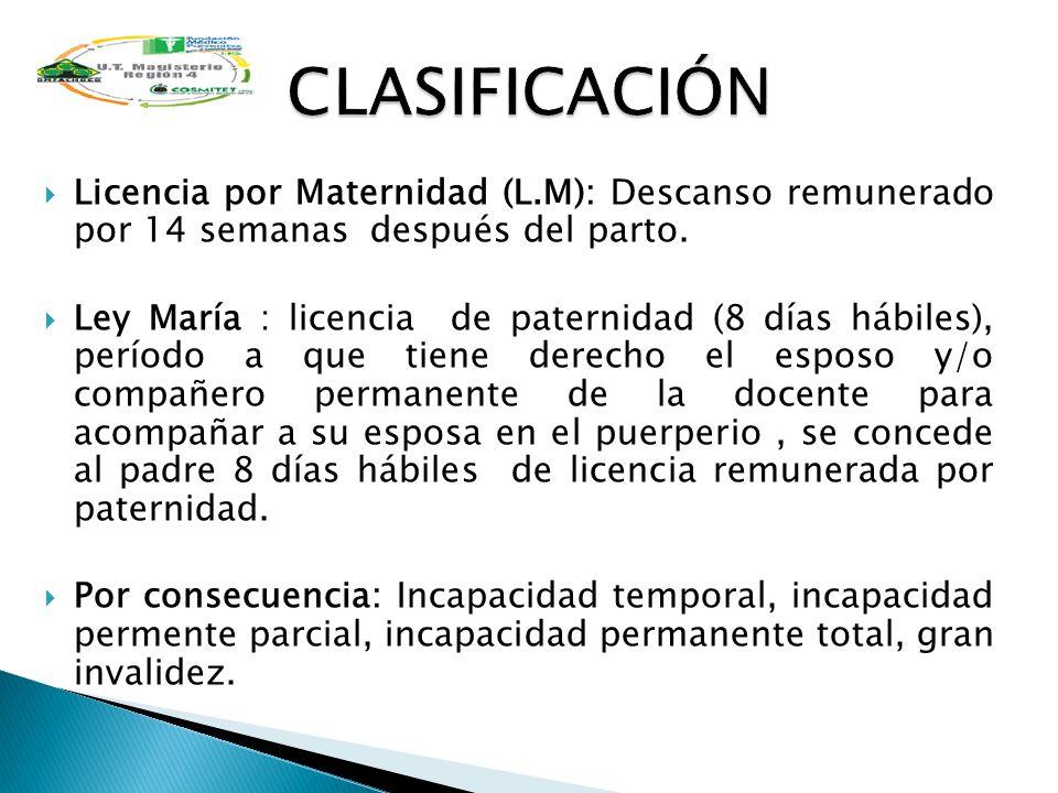 Licencia por Maternidad (L.M): Descanso remunerado por 14 semanas después del parto. Ley María : licencia de paternidad (8 días hábiles), período a qu