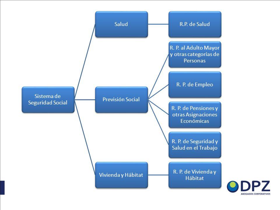 Sistema de Seguridad Social SaludR.P. de SaludPrevisión Social R. P. al Adulto Mayor y otras categorías de Personas R. P. de Empleo R. P. de Pensiones