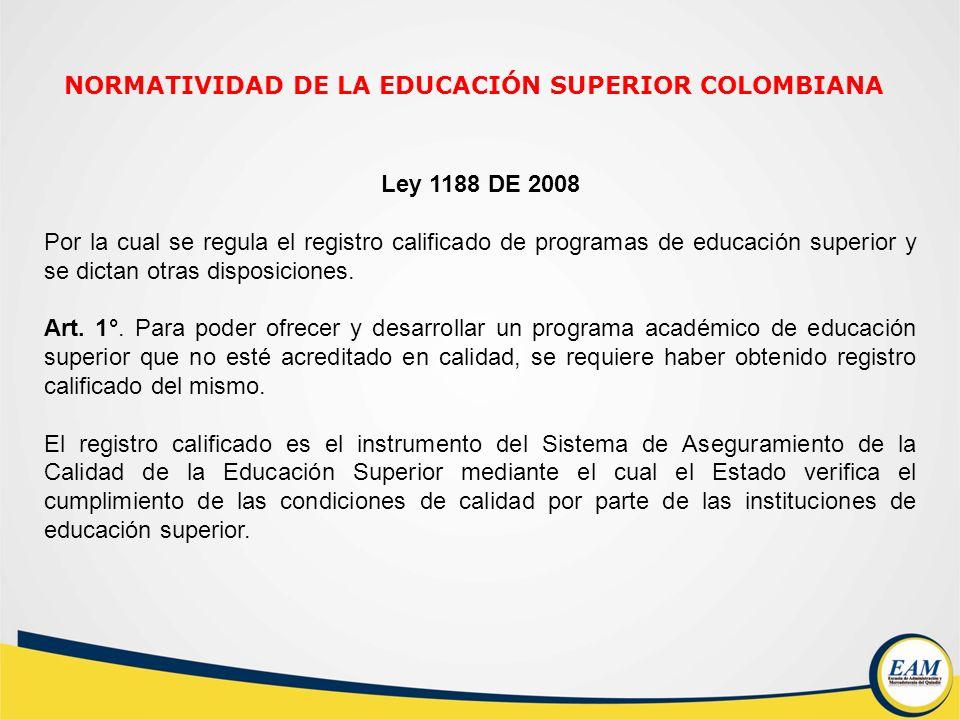 Ley 1188 DE 2008 Por la cual se regula el registro calificado de programas de educación superior y se dictan otras disposiciones. Art. 1°. Para poder