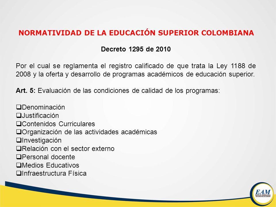 Decreto 1295 de 2010 Por el cual se reglamenta el registro calificado de que trata la Ley 1188 de 2008 y la oferta y desarrollo de programas académico