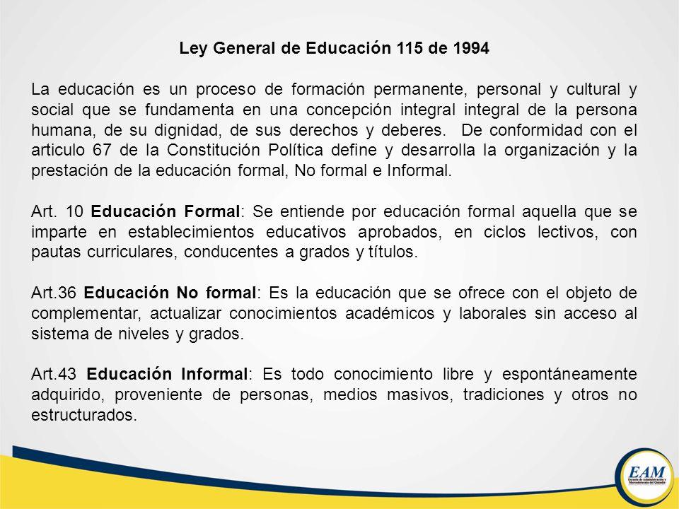 Ley General de Educación 115 de 1994 La educación es un proceso de formación permanente, personal y cultural y social que se fundamenta en una concepc
