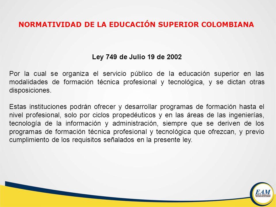 Ley 749 de Julio 19 de 2002 Por la cual se organiza el servicio público de la educación superior en las modalidades de formación técnica profesional y