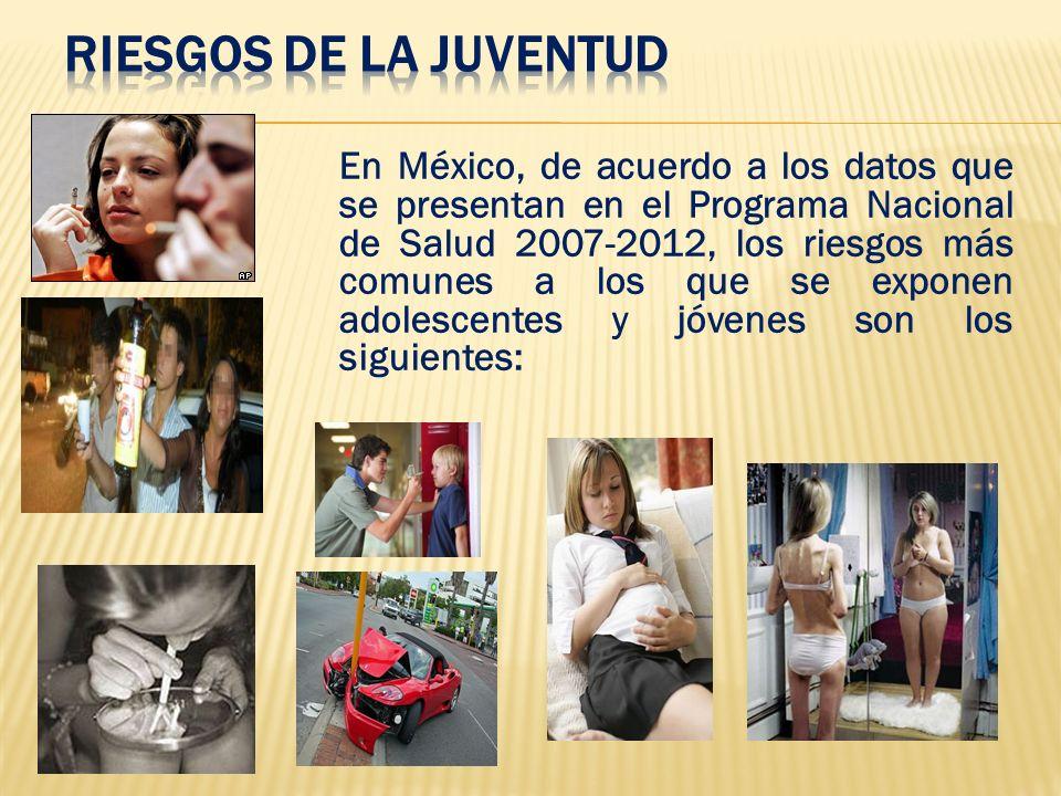 En México, de acuerdo a los datos que se presentan en el Programa Nacional de Salud 2007-2012, los riesgos más comunes a los que se exponen adolescent