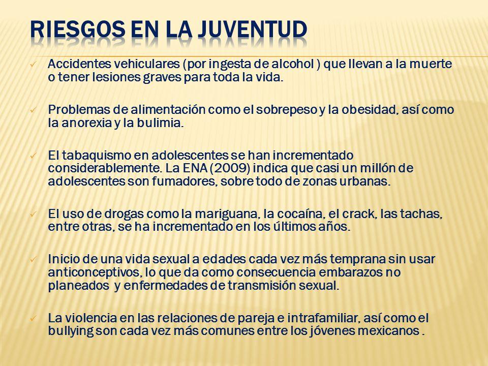 Accidentes vehiculares (por ingesta de alcohol ) que llevan a la muerte o tener lesiones graves para toda la vida. Problemas de alimentación como el s