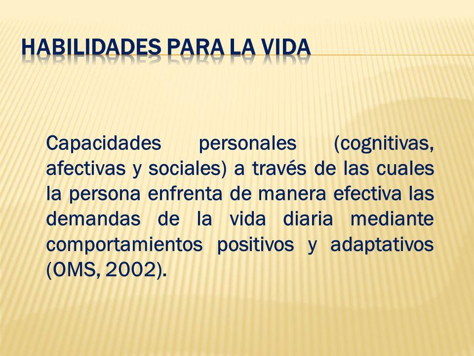 Capacidades personales (cognitivas, afectivas y sociales) a través de las cuales la persona enfrenta de manera efectiva las demandas de la vida diaria