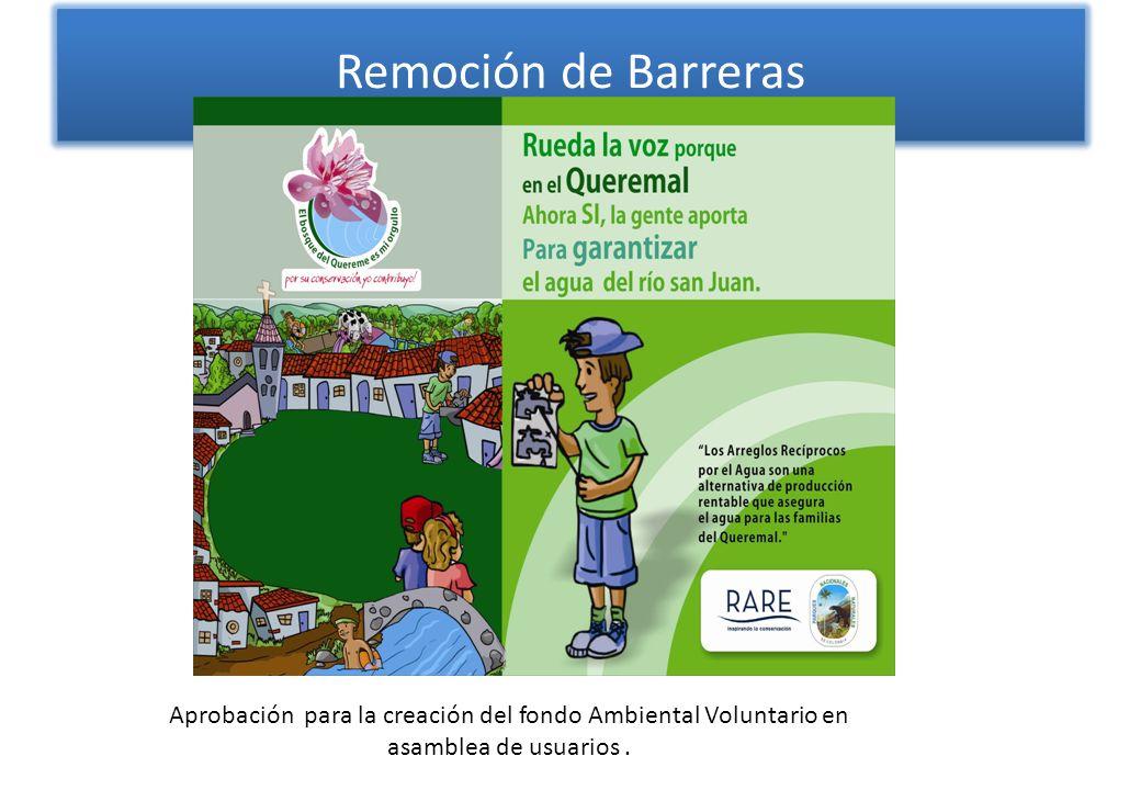 Remoción de Barreras Aprobación para la creación del fondo Ambiental Voluntario en asamblea de usuarios.