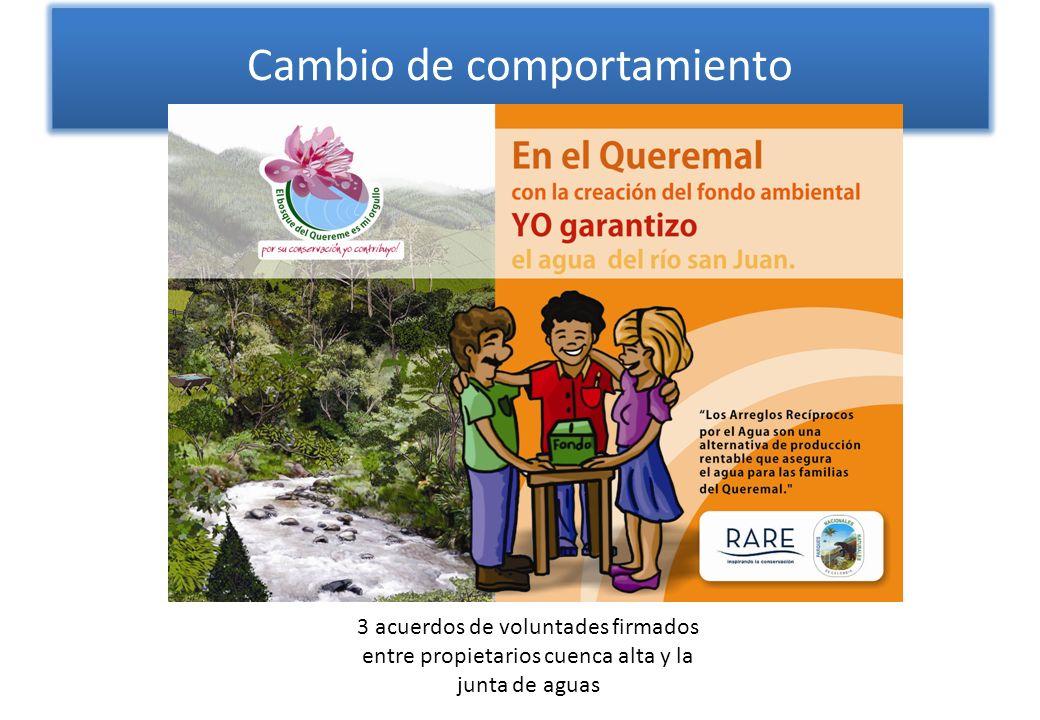Cambio de comportamiento 3 acuerdos de voluntades firmados entre propietarios cuenca alta y la junta de aguas