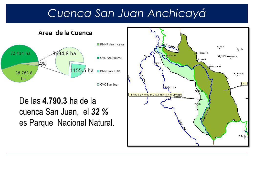 Cuenca San Juan Anchicayá De las 4.790.3 ha de la cuenca San Juan, el 32 % es Parque Nacional Natural.