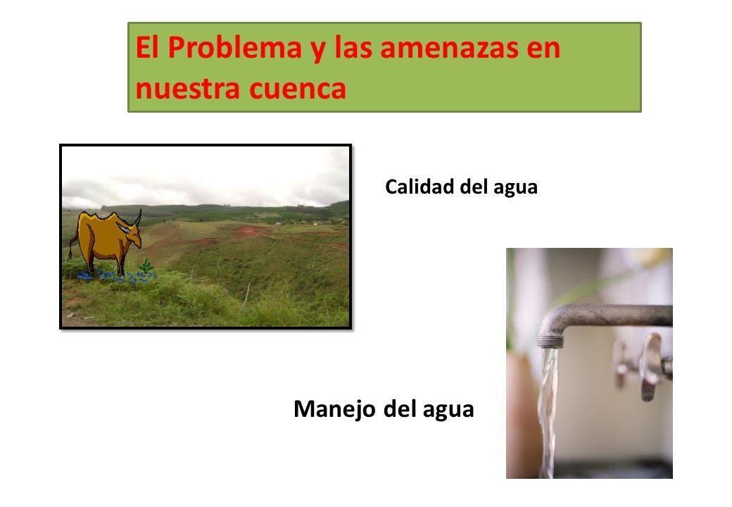 El Problema y las amenazas en nuestra cuenca Calidad del agua Manejo del agua
