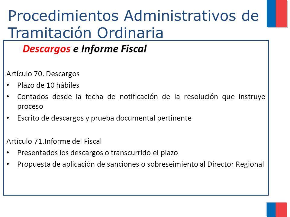 Procedimientos Administrativos de Tramitación Ordinaria Descargos e Informe Fiscal Artículo 70. Descargos Plazo de 10 hábiles Contados desde la fecha