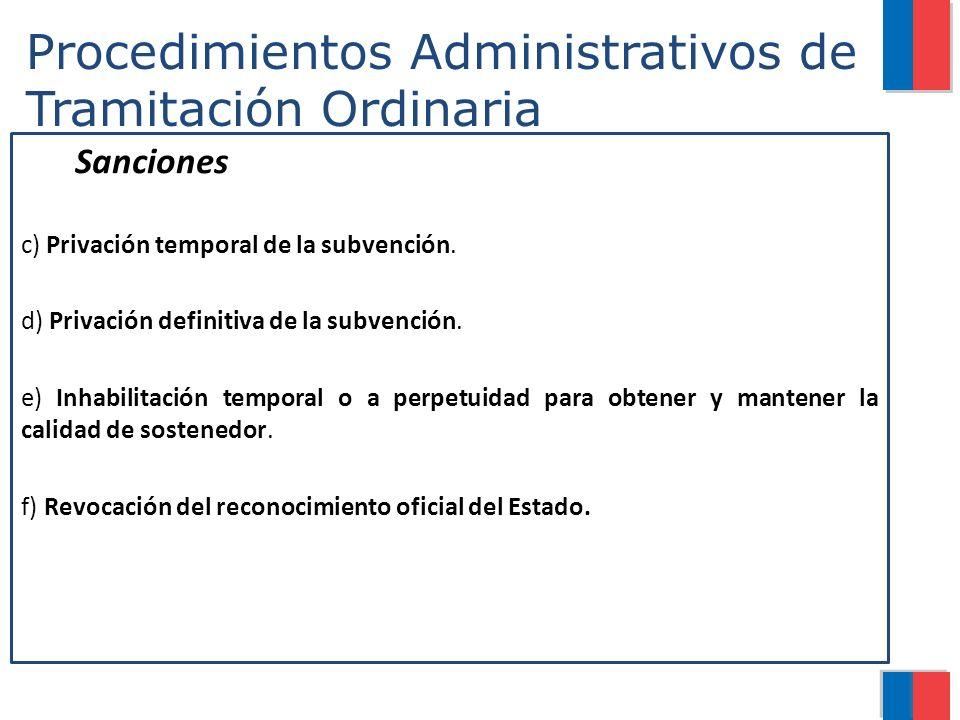 Procedimientos Administrativos de Tramitación Ordinaria Sanciones c) Privación temporal de la subvención. d) Privación definitiva de la subvención. e)
