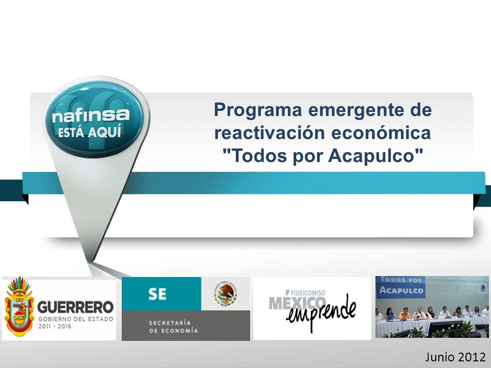 Todos por Acapulco Empleo Educació n SaludDeporte Programa de reactivación económica El 31 de mayo, los Gobiernos Federal, Estatal y municipal anunciaron la instrumentación de la estrategia Todos por Acapulco, que estará enfocada a reconstruir el tejido social, más que un componente policiaco.