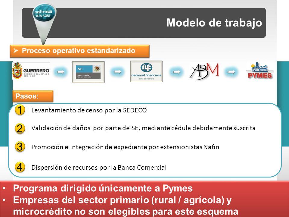 Modelo de trabajo 1 1 Levantamiento de censo por la SEDECO 2 2 Validación de daños por parte de SE, mediante cédula debidamente suscrita 3 3 Promoción e Integración de expediente por extensionistas Nafin 4 4 Dispersión de recursos por la Banca Comercial Pasos: Programa dirigido únicamente a Pymes Empresas del sector primario (rural / agrícola) y microcrédito no son elegibles para este esquema Programa dirigido únicamente a Pymes Empresas del sector primario (rural / agrícola) y microcrédito no son elegibles para este esquema Proceso operativo estandarizado