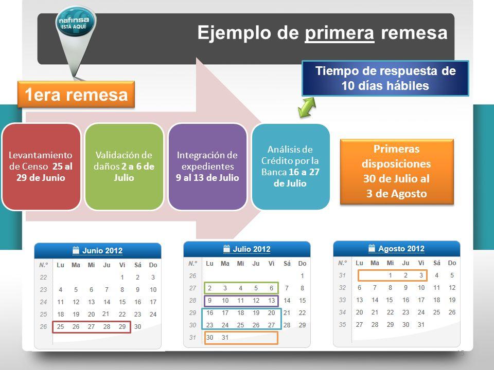 15 Ejemplo de primera remesa 1era remesa Levantamiento de Censo 25 al 29 de Junio Validación de daños 2 a 6 de Julio Integración de expedientes 9 al 1