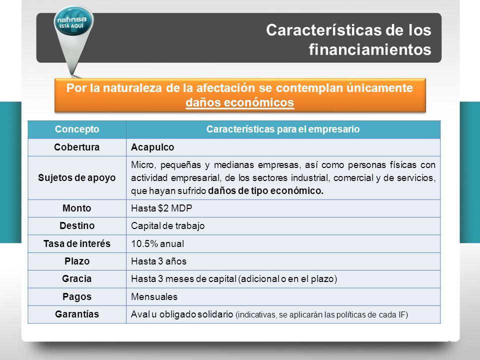 5 ConceptoCaracterísticas para el empresario CoberturaAcapulco Sujetos de apoyo Micro, pequeñas y medianas empresas, así como personas físicas con act