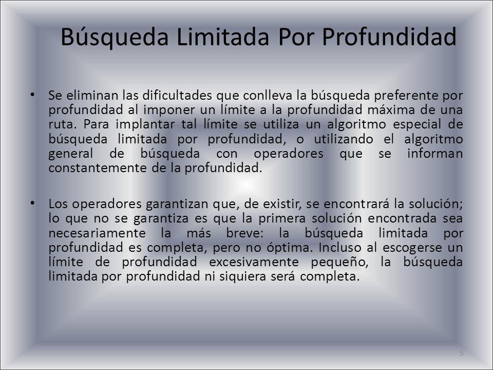 5 Búsqueda Limitada Por Profundidad Se eliminan las dificultades que conlleva la búsqueda preferente por profundidad al imponer un límite a la profund