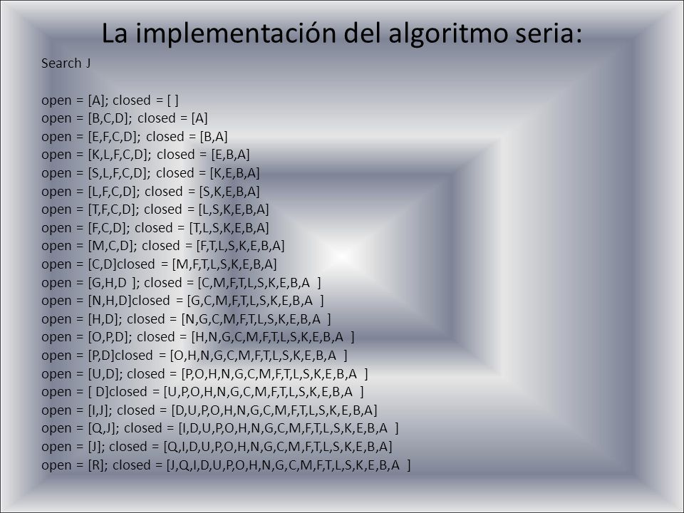 La implementación del algoritmo seria: Search J open = [A]; closed = [ ] open = [B,C,D]; closed = [A] open = [E,F,C,D]; closed = [B,A] open = [K,L,F,C