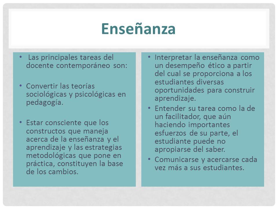 Enseñanza Las principales tareas del docente contemporáneo son: Convertir las teorías sociológicas y psicológicas en pedagogía. Estar consciente que l