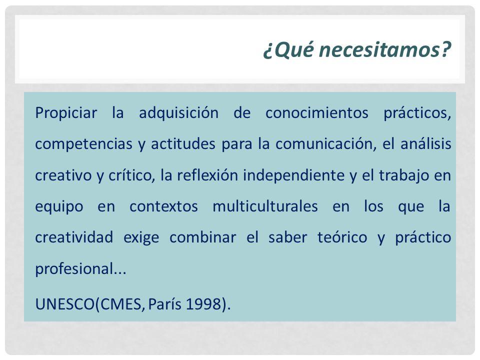 ¿Qué necesitamos? Propiciar la adquisición de conocimientos prácticos, competencias y actitudes para la comunicación, el análisis creativo y crítico,