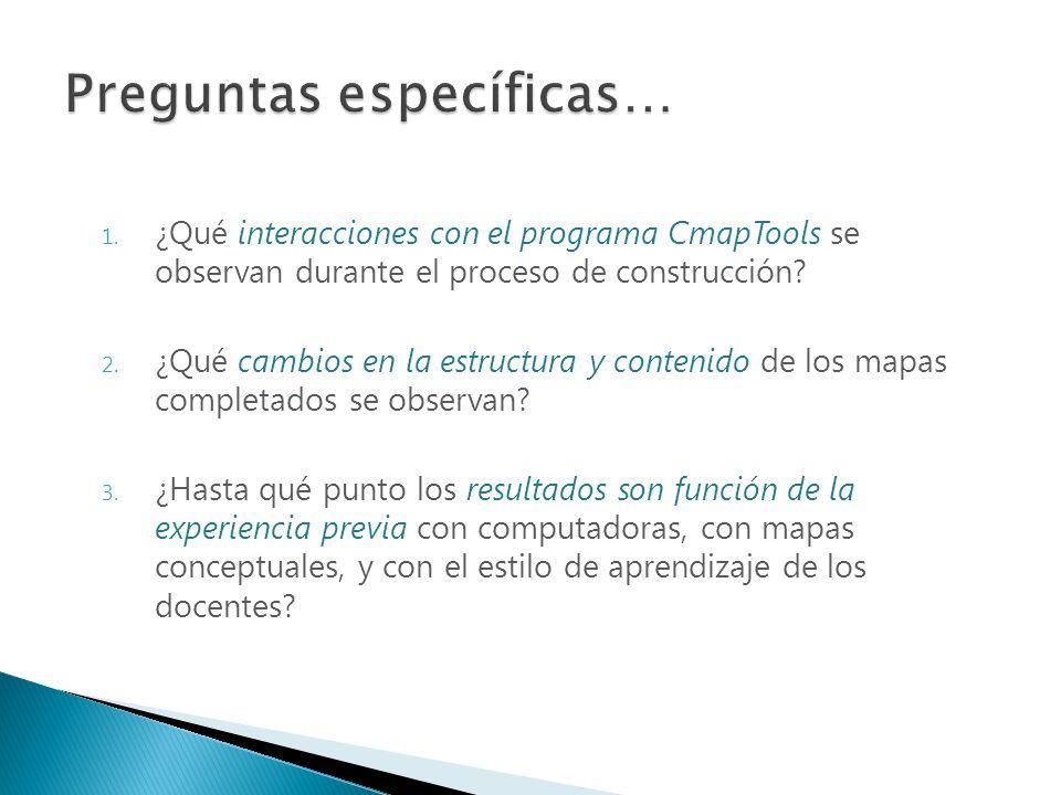 1. ¿Qué interacciones con el programa CmapTools se observan durante el proceso de construcción? 2. ¿Qué cambios en la estructura y contenido de los ma