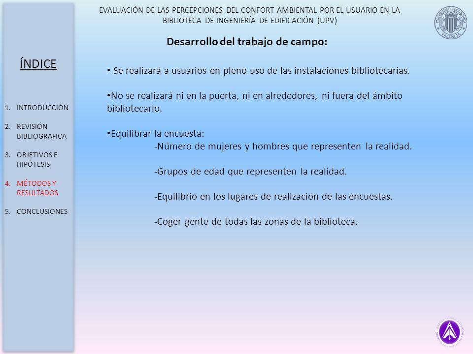 EVALUACIÓN DE LAS PERCEPCIONES DEL CONFORT AMBIENTAL POR EL USUARIO EN LA BIBLIOTECA DE INGENIERÍA DE EDIFICACIÓN (UPV) Desarrollo del trabajo de camp